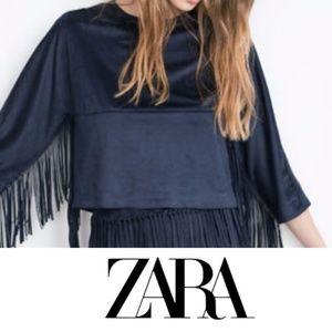 Zara Trafaluc Suede Fringe Top Small Blue